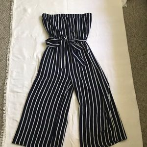 Forever21 striped jumpsuit